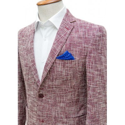 Red and White Mixed Patterned Blazer Jacket