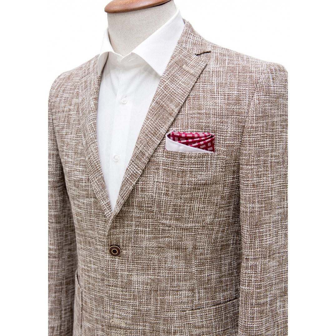 Brown and White Mixed Patterned Blazer Jacket