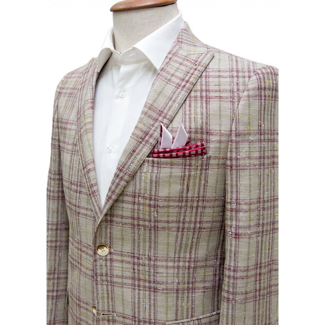 Light Brown Fabric Red&Green Plaid Blazer Jacket