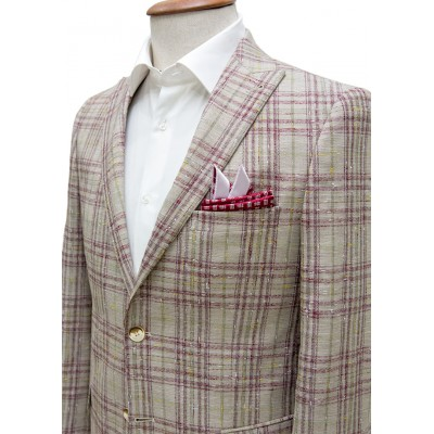 Light Brown Fabric Red&Green Plaid Blazer Jacket