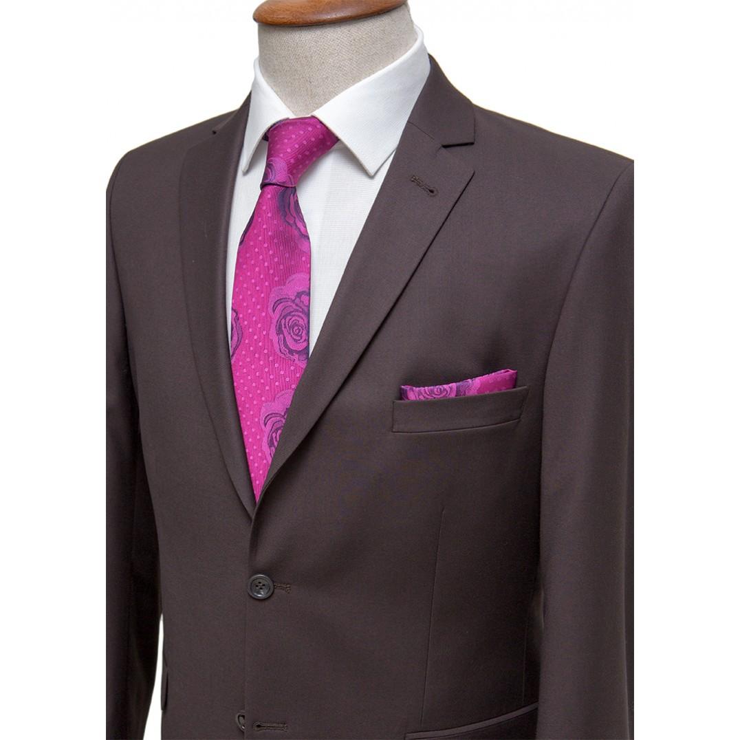 Plain Dark Brown Classic Suit