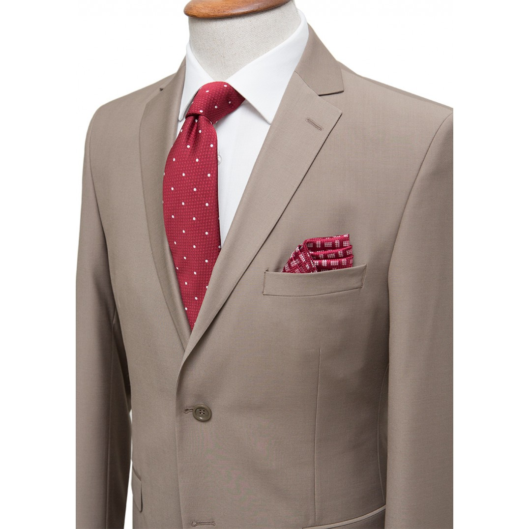 Plain Light Brown Classic Suit