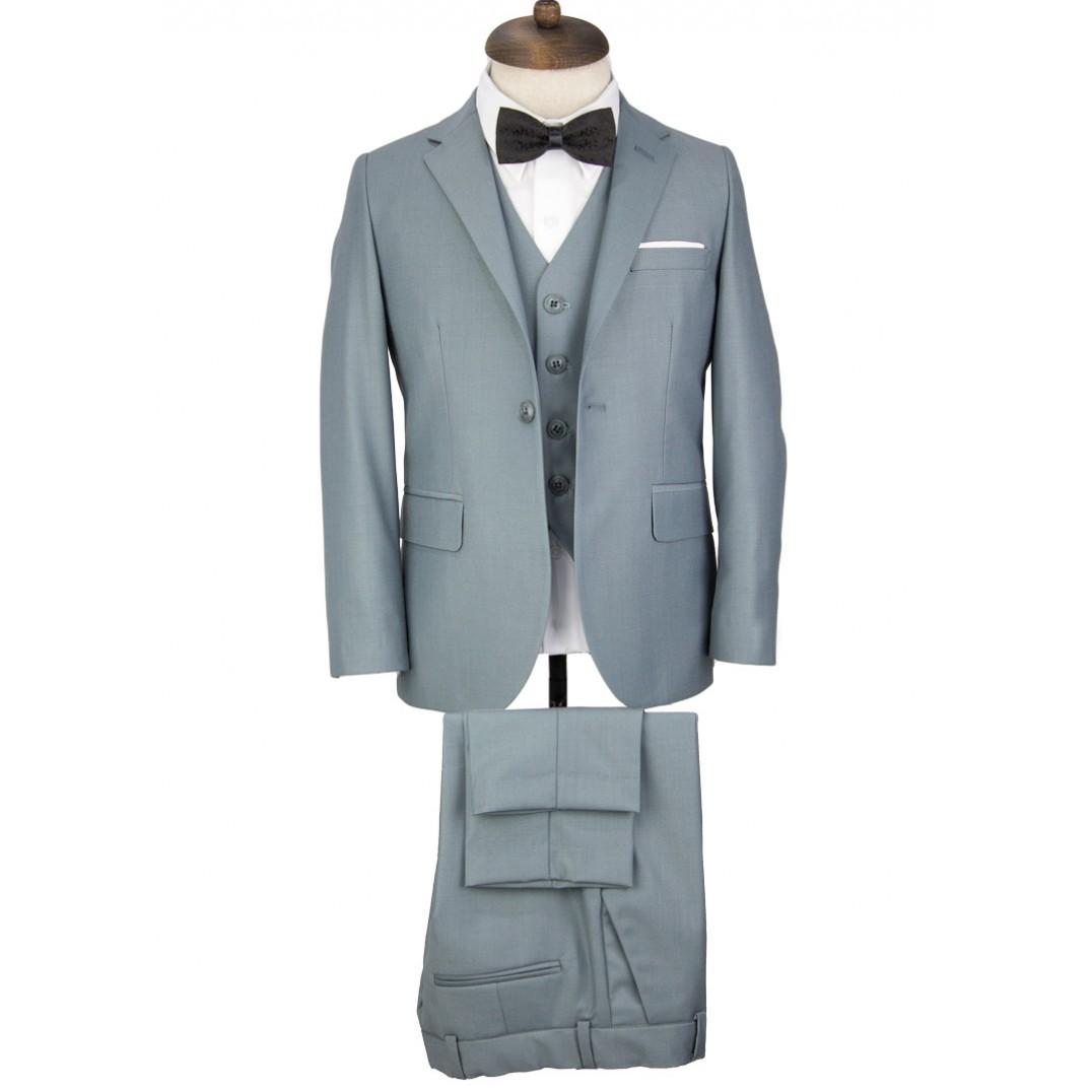 Greyish Petroleum Green Kids Vested Suit