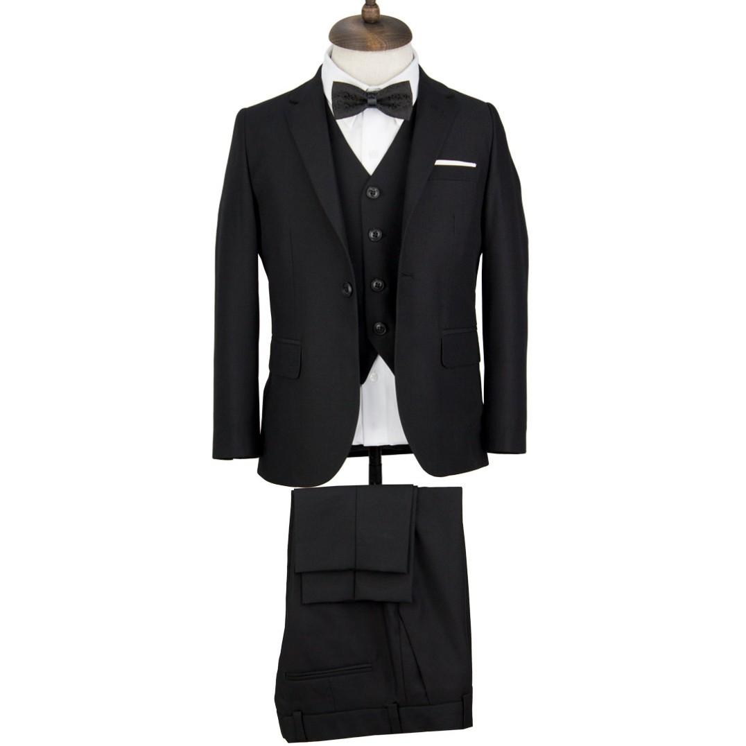 Black Kids Vested Suit