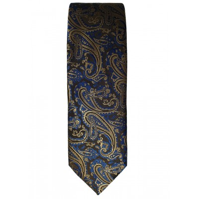 Blue Brown Floral Pattern Tie