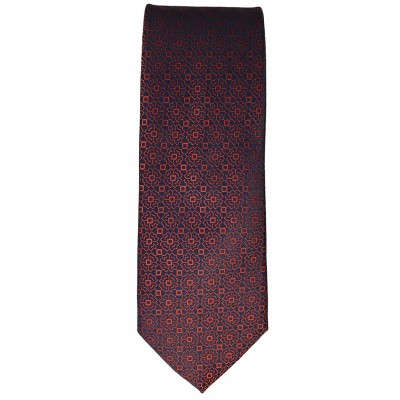 Red Abstract Patten Indigo Tie