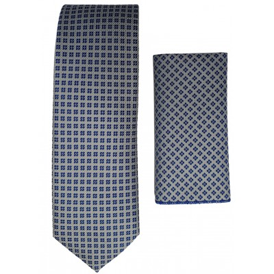 Navy Spotted Grey Tie and Handkerchief