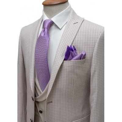 Magenta Plaid Cream Fabric Vested Suit