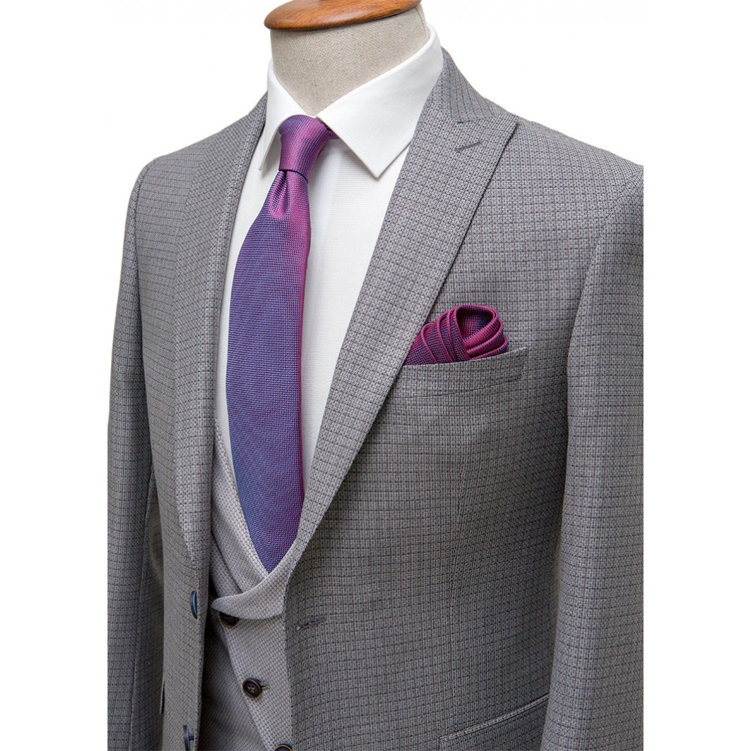 Grey Plaid on Light Grey Fabric Vested Suit