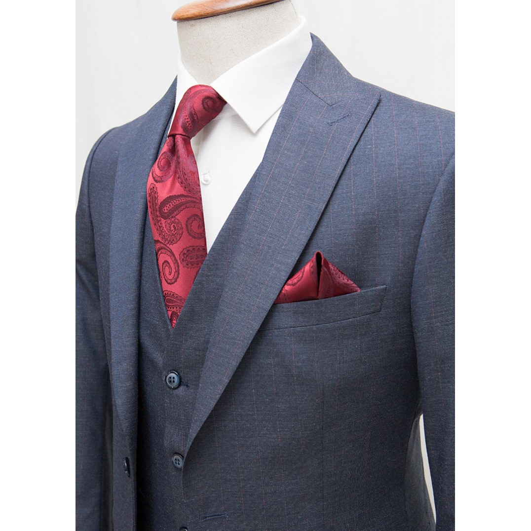Maroon Striped Navy Fabric Vested Suit