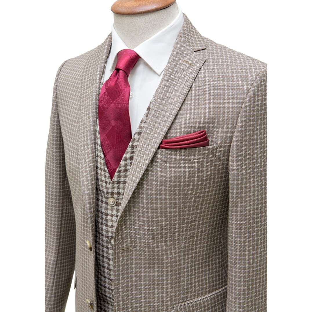 %100 Wool Brown&White Plaid Vested Suit