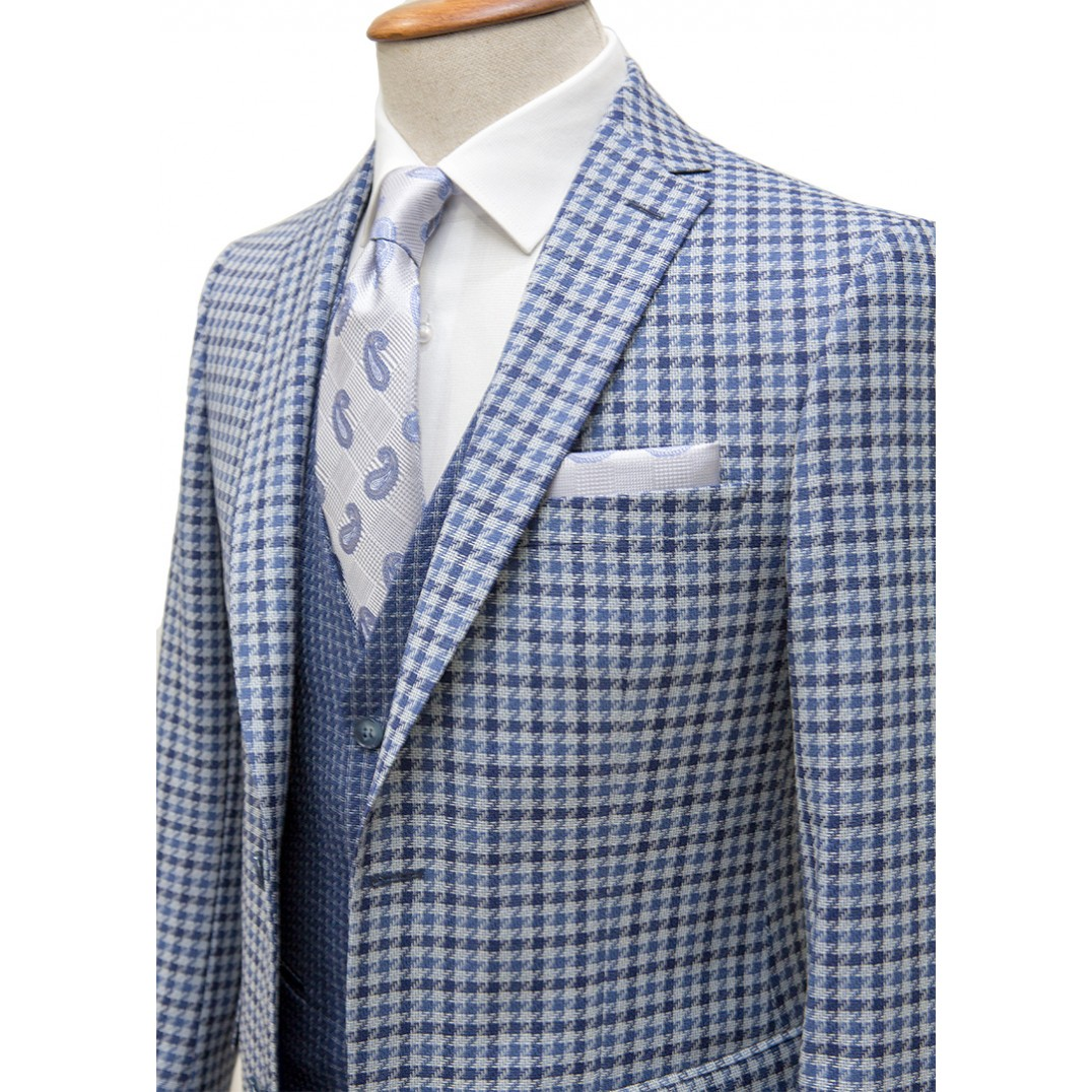 %100 Wool Blue&Navy Plaid Fabric Vested Suit