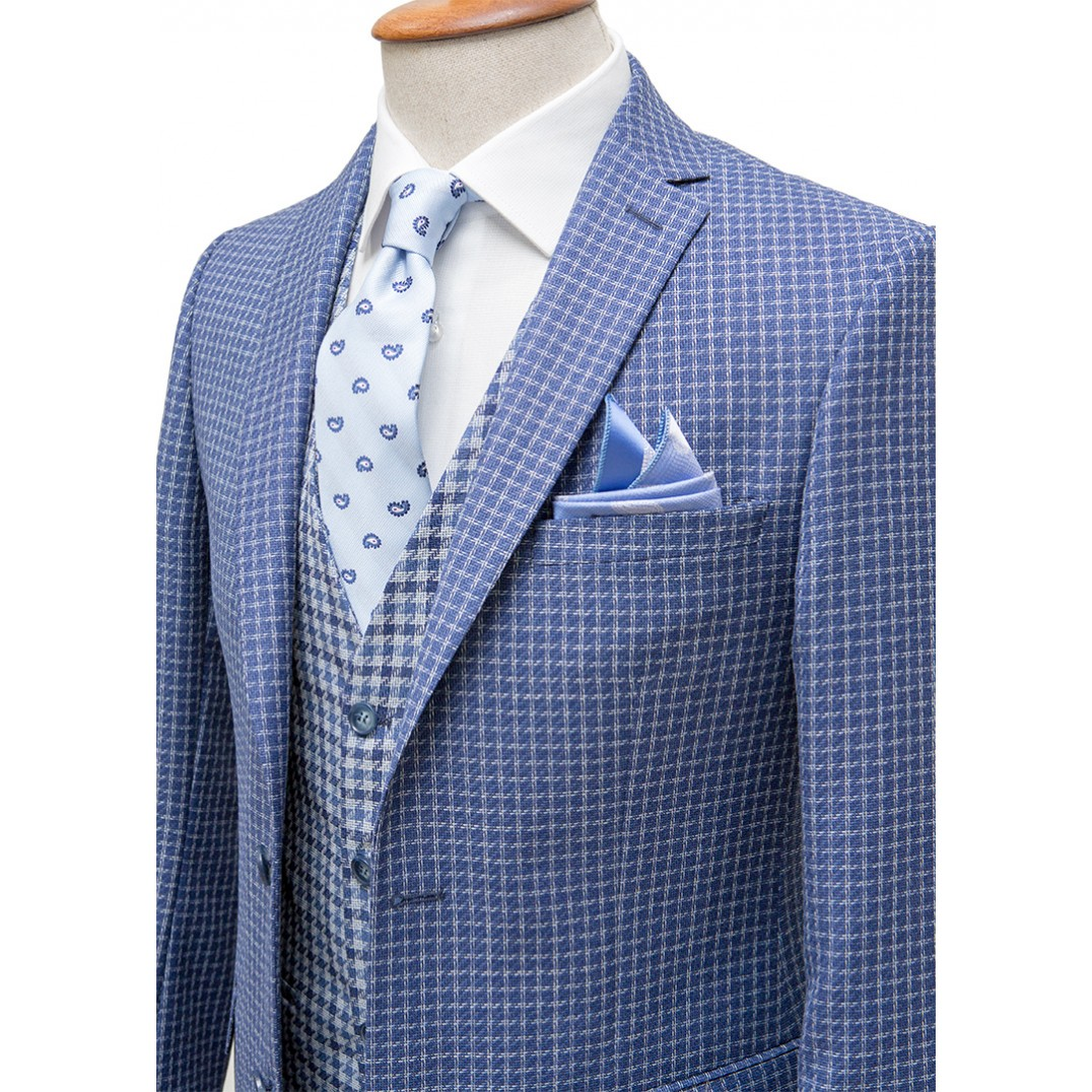 %100 Wool White Plaid Blue Vested Suit