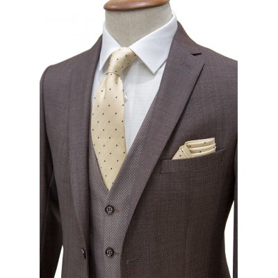 %100 Wool Bird's Eye Patterned Vested Suit