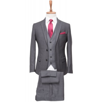 %100 Wool Micro Plaid Grey Vested Suit