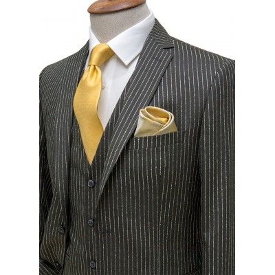 White Striped Dark Green Fabric Vested Suit