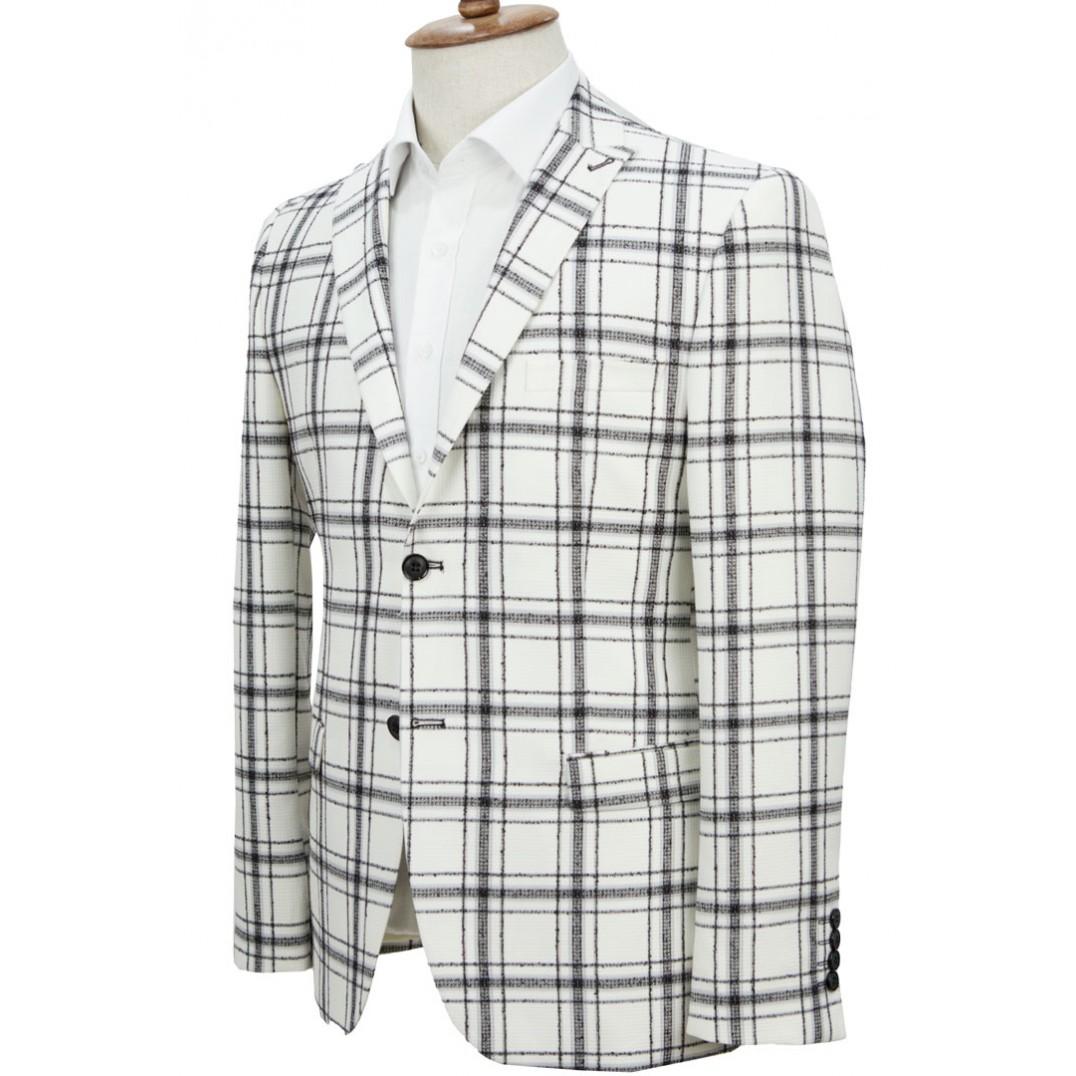 Black Plaid White Jacket