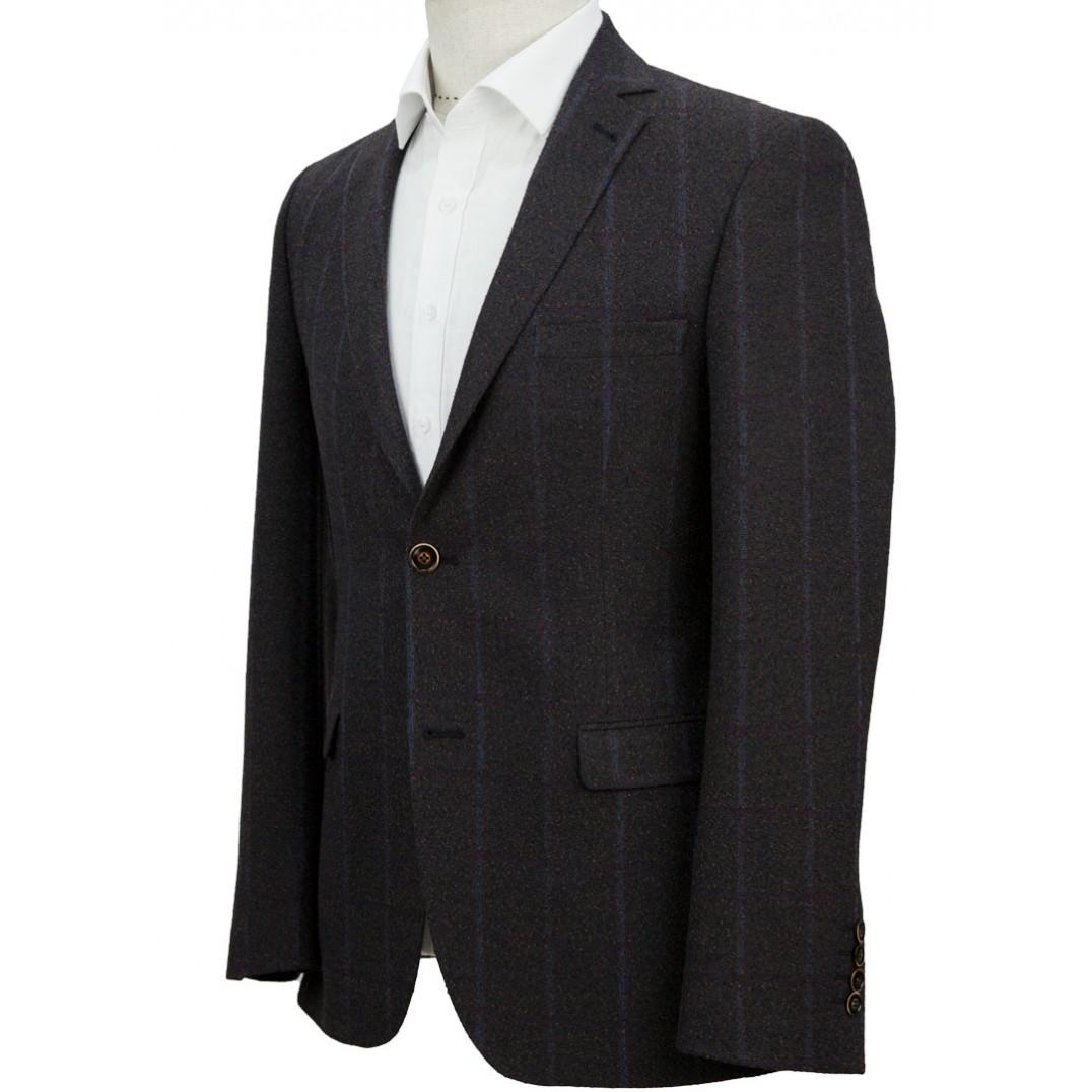 Blue Plaid Brown Jacket