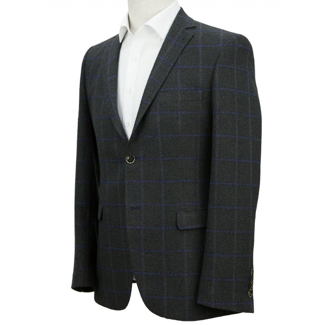 Navy Blue Plaid Grey Jacket