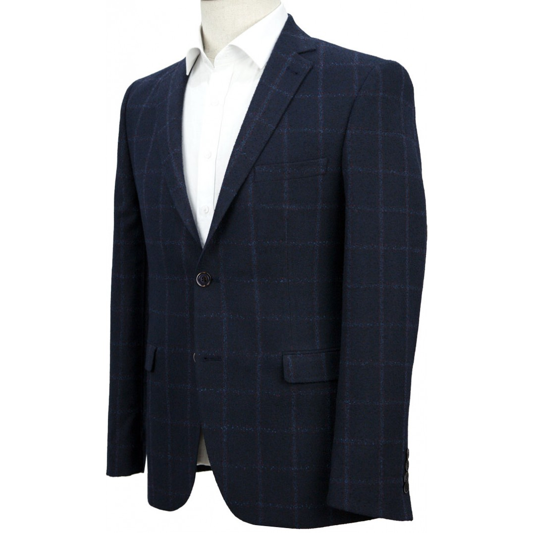 Navy Blue Plaid Jacket