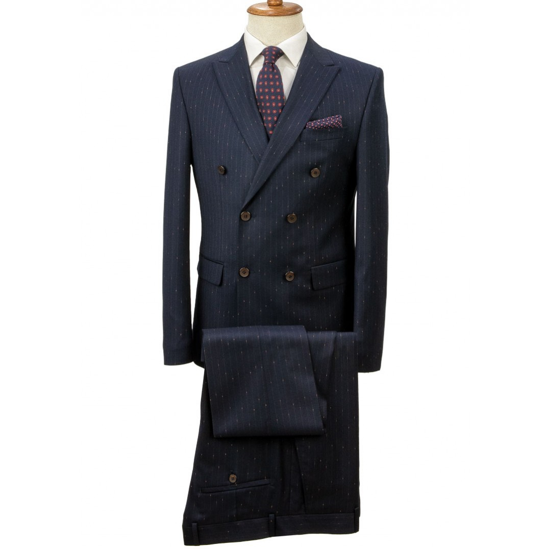 Orange Striped Dark Navy Blue Double Breasted Suit