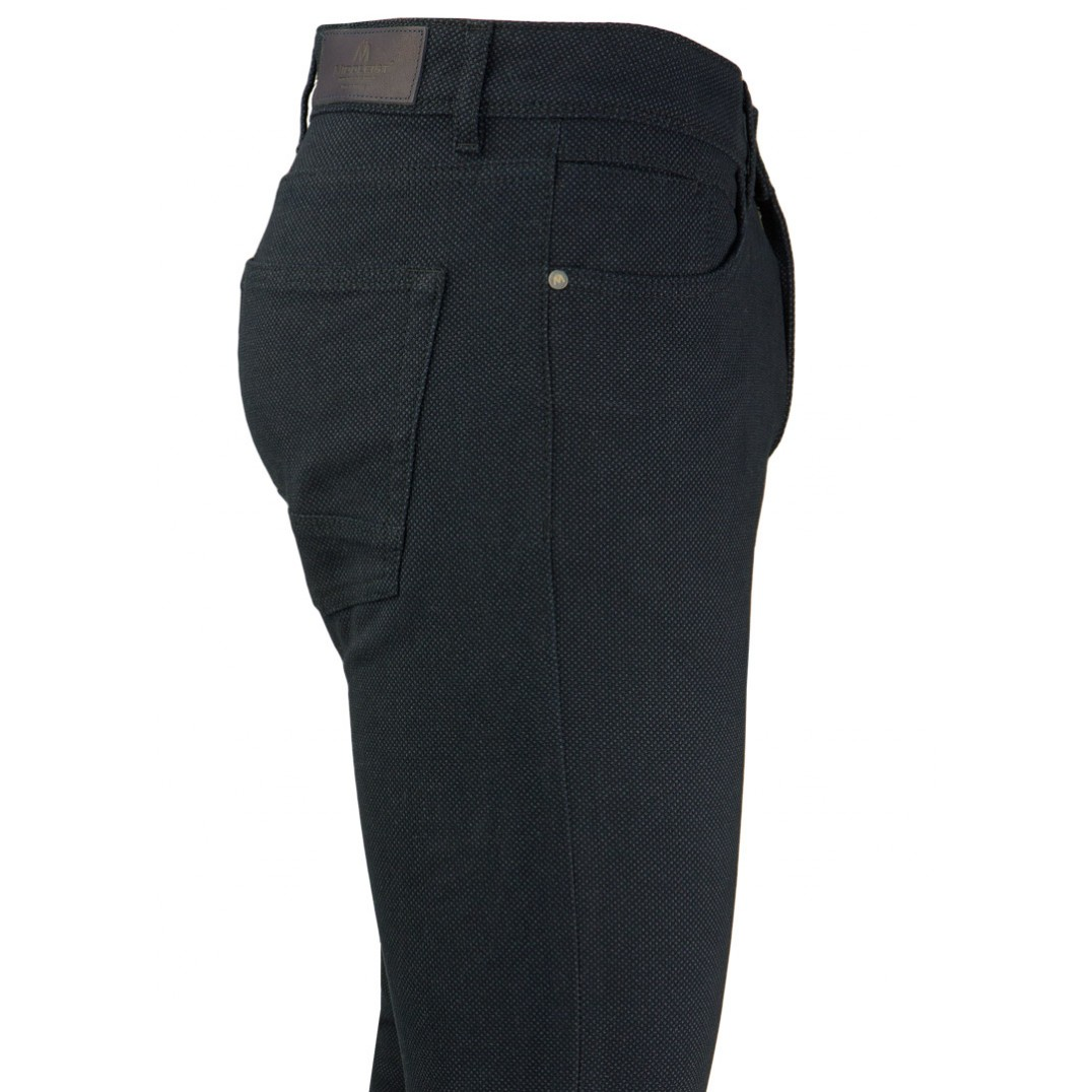 Bird's Eye Patterned Dark Navy Blue Casual Trousers