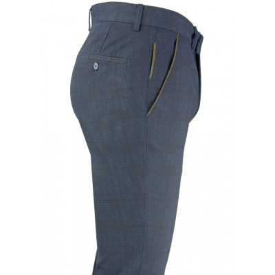 Black Plaid Blue Fabric Casual Trousers