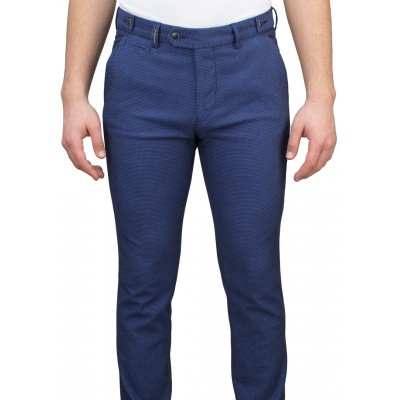 Birdseye Patterned 5 Pockets Blue Casual Trousers