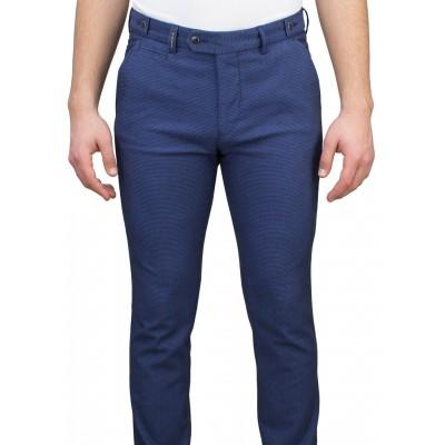 Birdseye Patterned 5 Pockets Blue Casual Trousers