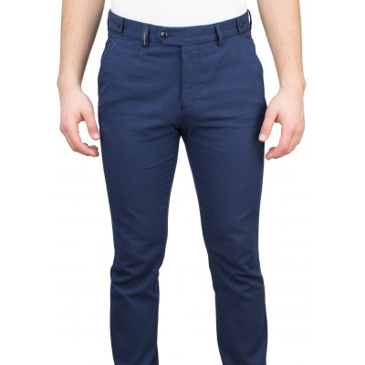 Micro Patterned 5 Pockets Navy Casual Trousers