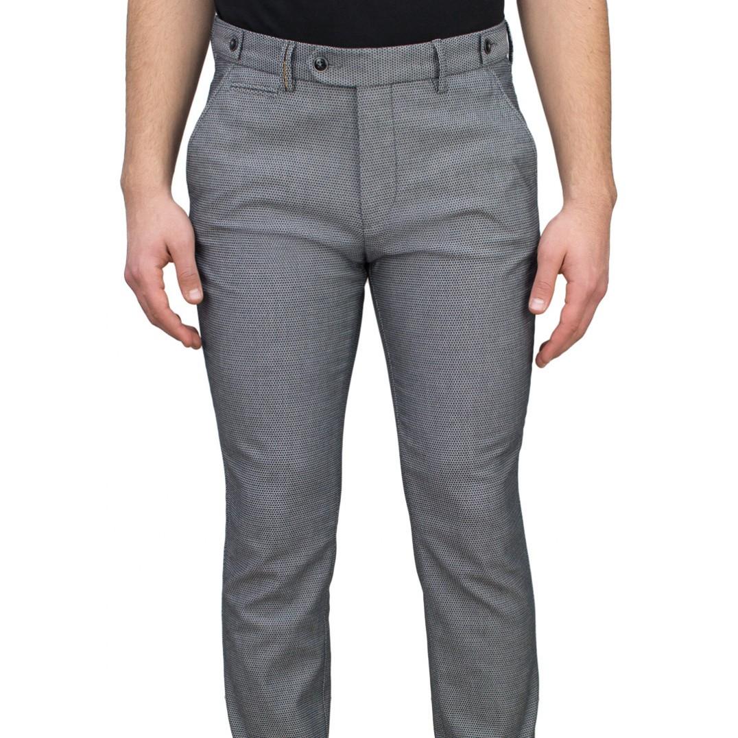 Birdseye Patterned 5 Light Grey Blue Casual Trousers
