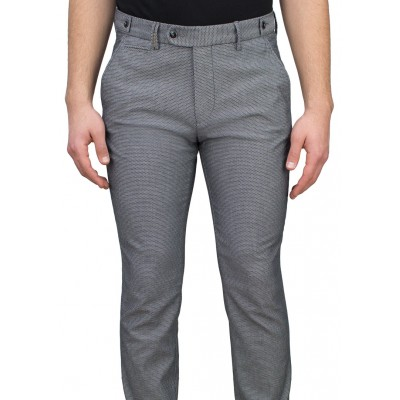 Birdseye Patterned 5 Light Grey Blue Casual Trousers