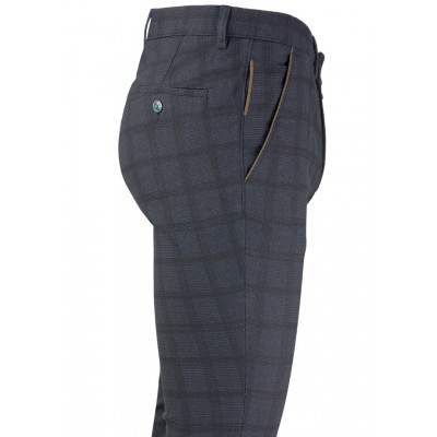 Black Plaid Navy Blue Fabric Casual Trousers