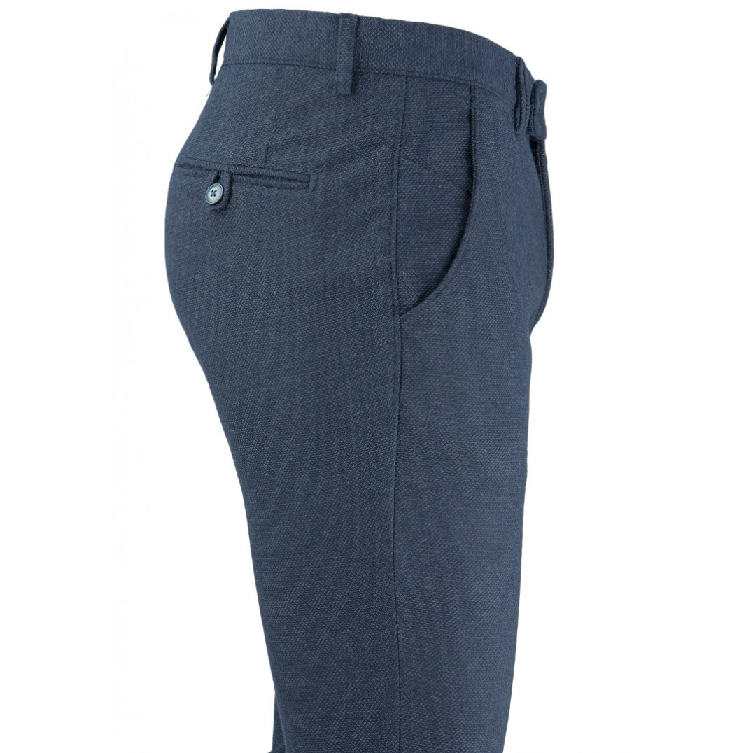 Bird's Eye Patterned Navy Blue 5 Pockets Casual Trousers