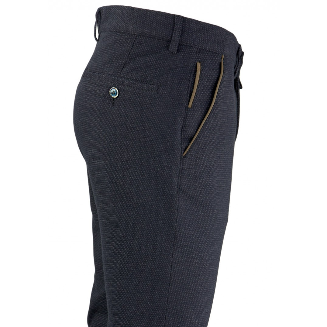 Bird's Eye Navy Blue 5 Pockets Casual Trousers