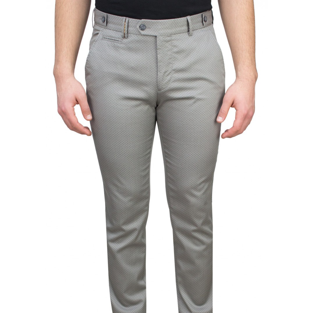 Grey Fabric Navy Birdseye Patterned Casual Trousers