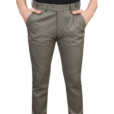 Green Fabric Navy Patterned Casual Trousers