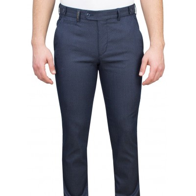 Navy Fabric Bird's Eye Patterned Casual Trousers