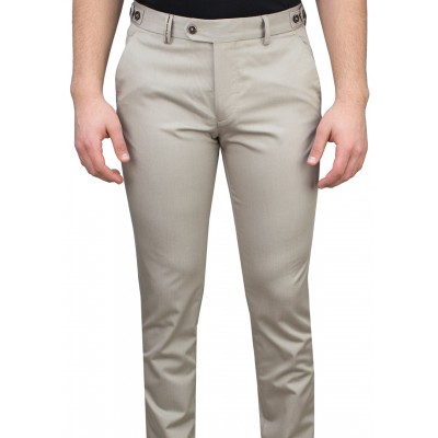5 Pockets Micro Patterned Beige Casual Trousers