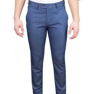 5 Pockets Micro Patterned Blue Casual Trousers