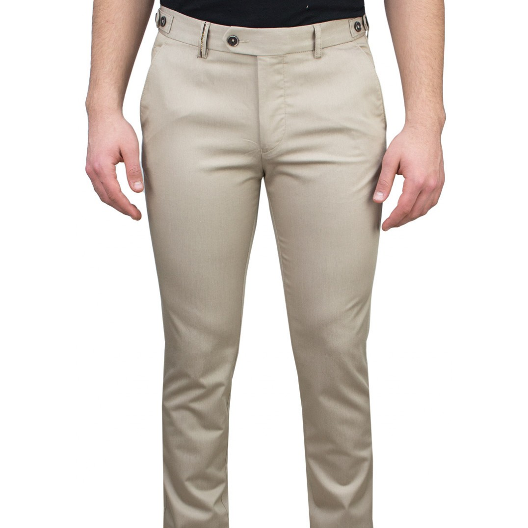 5 Pockets Micro Patterned Cream Casual Trousers