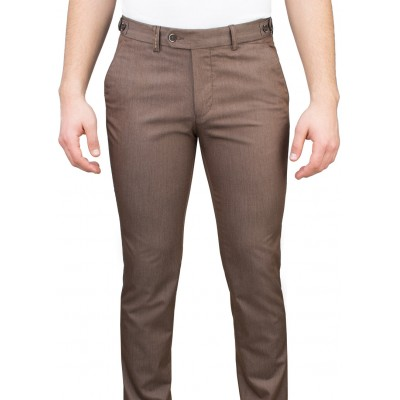 5 Pockets Micro Patterned Brown Casual Trousers
