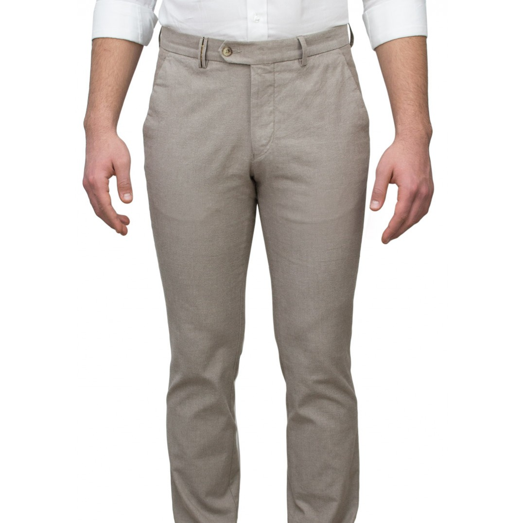 5 Pockets Beige Casual Trousers