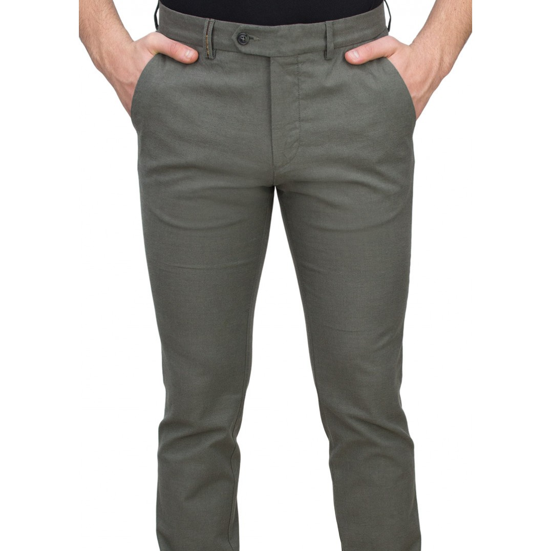 5 Pockets Green Casual Trousers