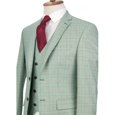 Red Striped Green Plaid Vested Suit