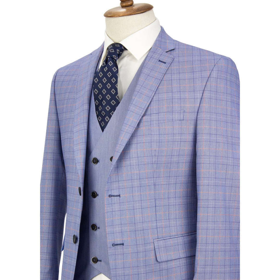 Red Striped Blue Plaid Vested Suit