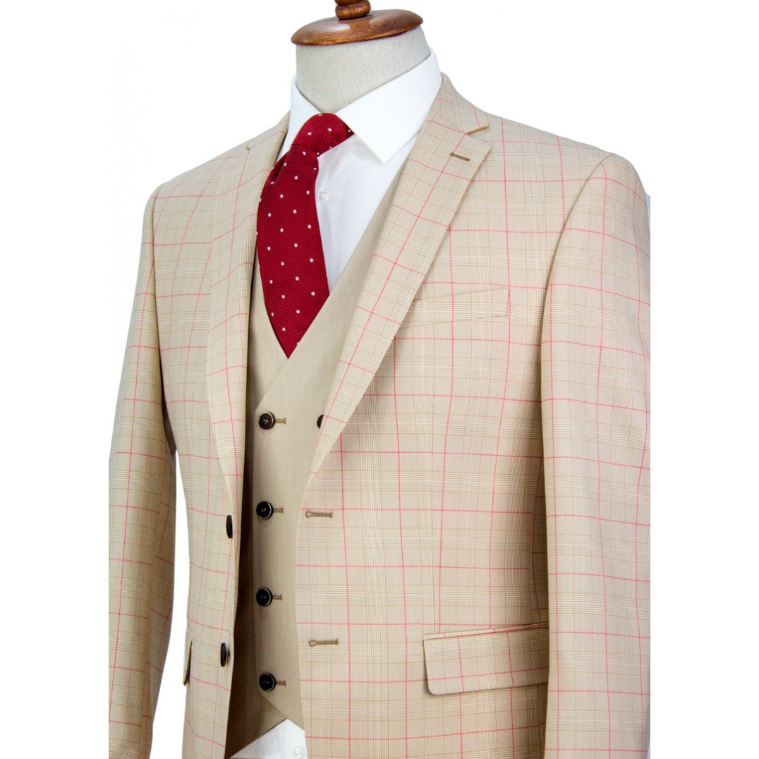 Red Striped Beige Plaid Vested Suit