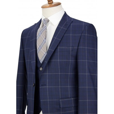 White Striped Dark Navy Plaid Vested Suit