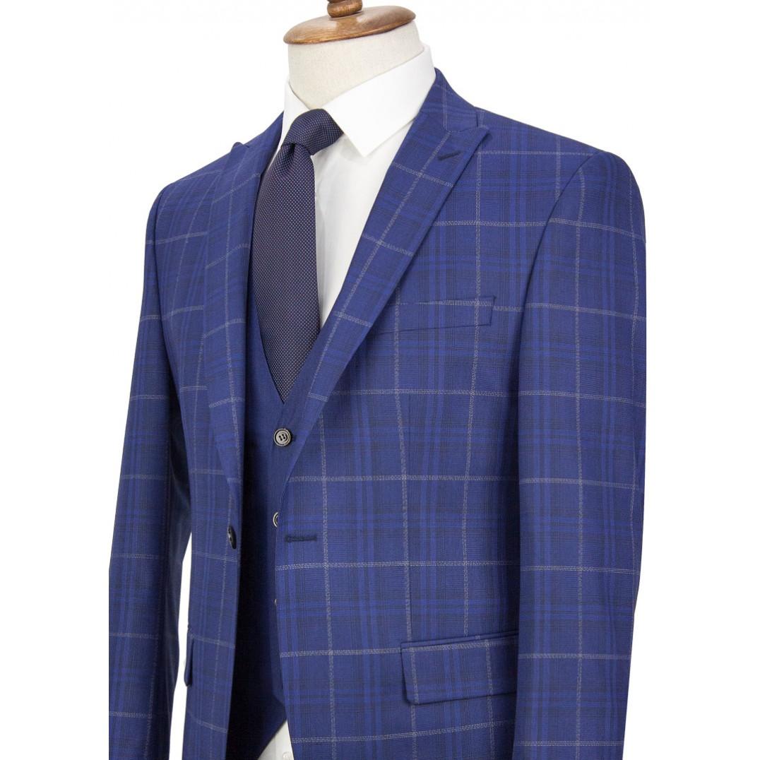 White&Blue Plaid Navy Vested Suit