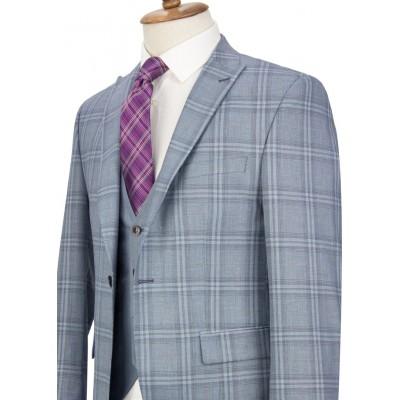 Blue Plaid Vested Suit